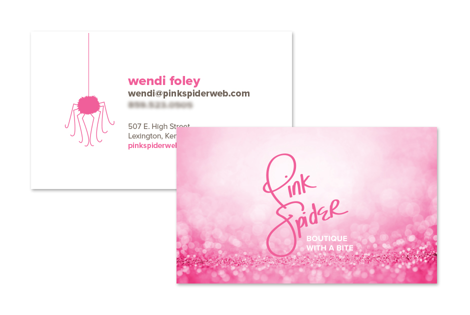 Pink Spider Business Cards by S. Wright Creative, Lexington, Kentucky graphic designer